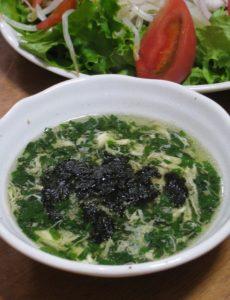 モロヘイヤと卵のフワトロ~なスープ☆